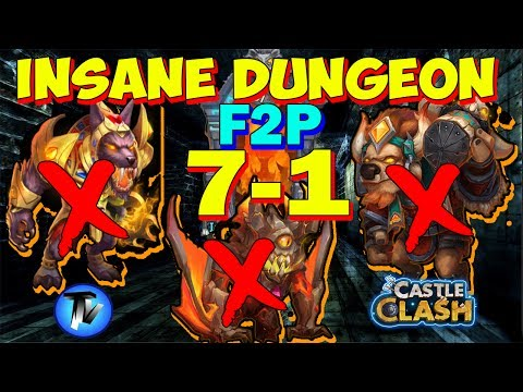 Castle Clash - Insane Dungeon 7-1 Without Anubis, Mino, Ghoulem, Gf [F2P Heroes And Account]