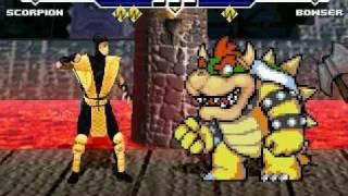 Repeat youtube video Scorpion(me) fatalities Nintendo Characters MUGEN