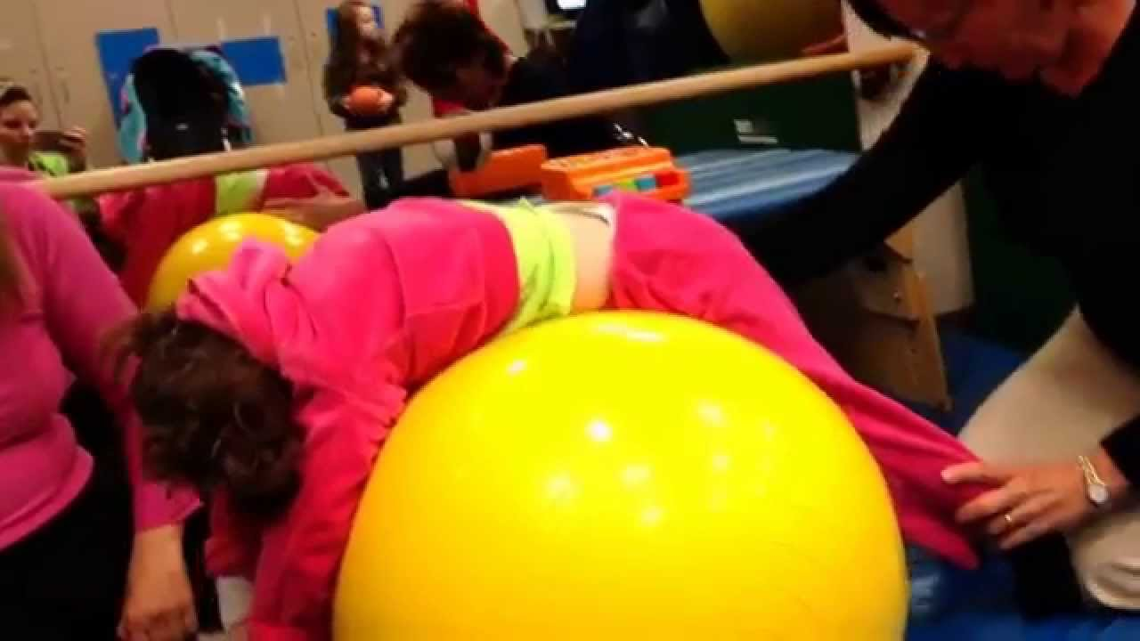 Cerebral palsy physical therapy - 4yr Old Cerebral Palsy In Wheelchair Physical Therapy On Peanut Exercise Ball Youtube