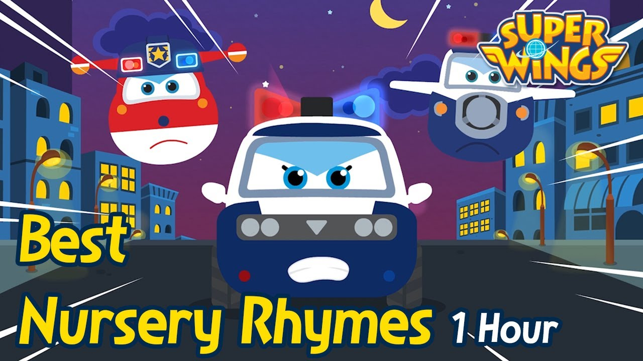 Police Car Song | 1 Hour | Nursery Rhymes | SuperWings Songs for Children