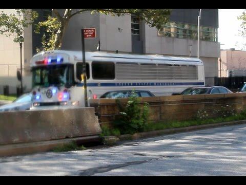 United States Marshals bus leaving New York courthouse + Ambulance 1846 & 838 New York Presbyterian