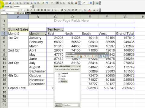 Group months into quarters in an excel pivot table also youtube rh