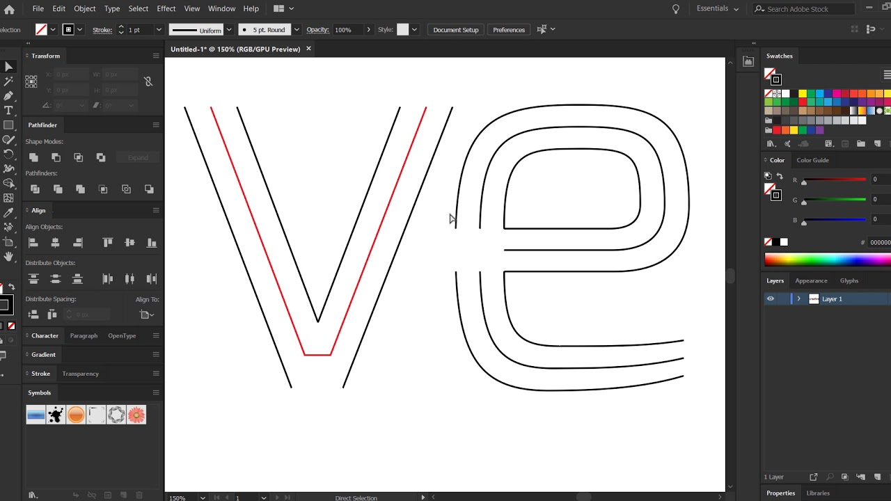 Create Monoline (Single Stroke) Text in Illustrator
