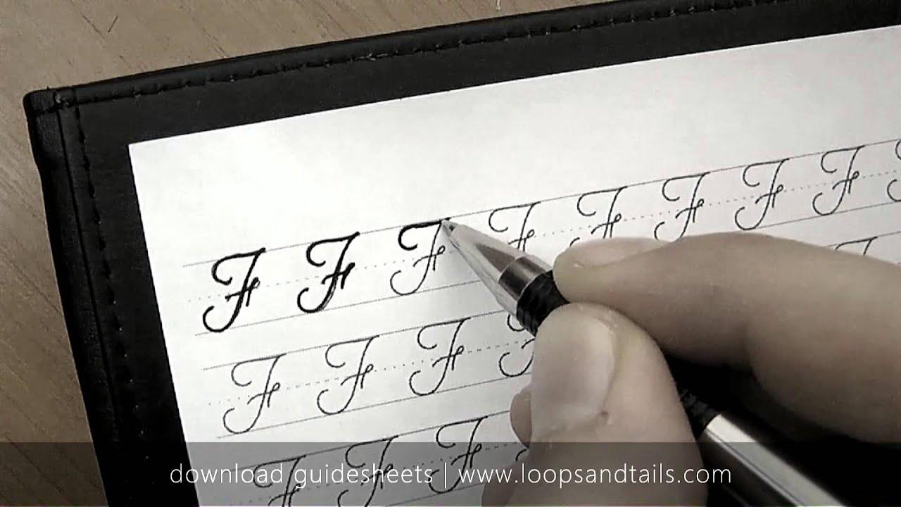 Learn cursive handwriting - Capital F - YouTube