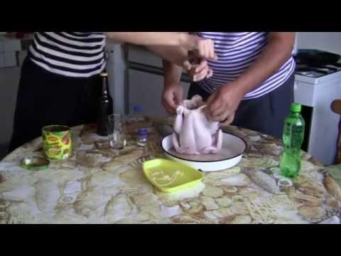 Печено пиле на бутилка