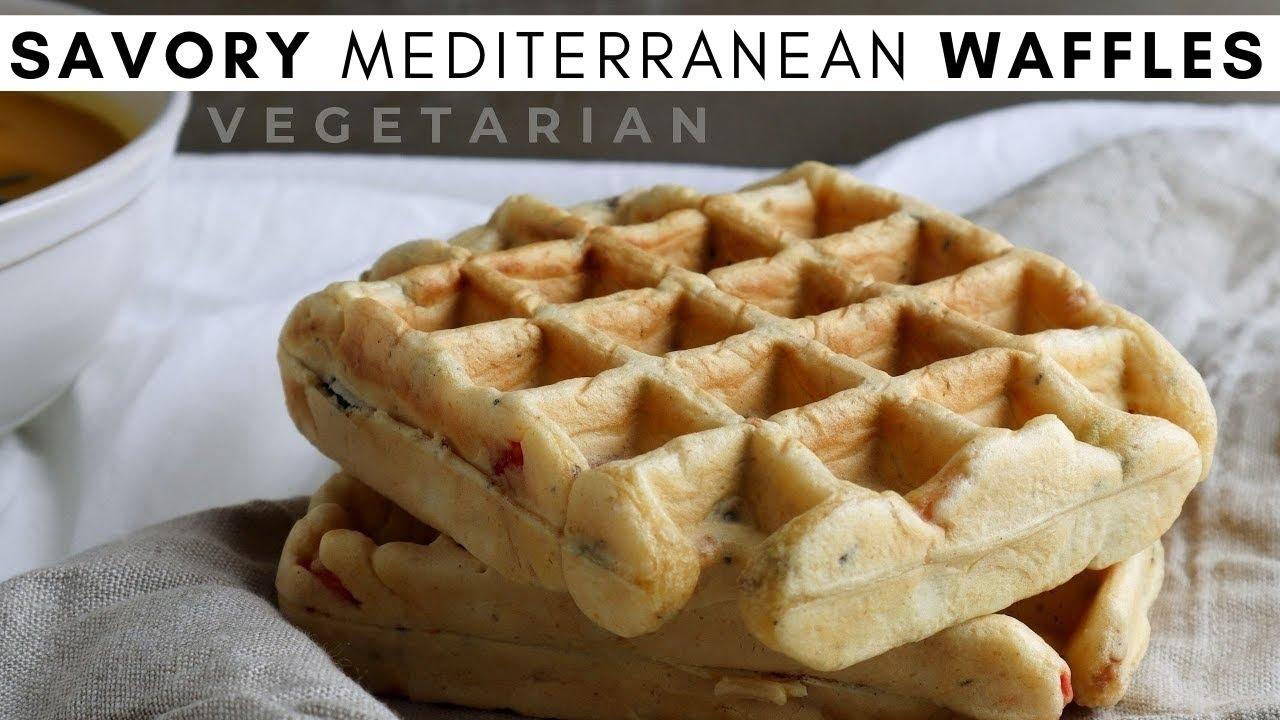 How To Make Savory Vegetarian Mediterranean Waffles