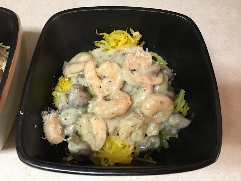 Spaghetti Squash with Shrimp Alfredo Recipe !