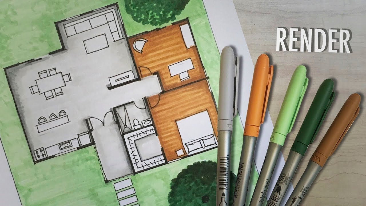 How To Render A Floor Plan By Hand Markers Youtube
