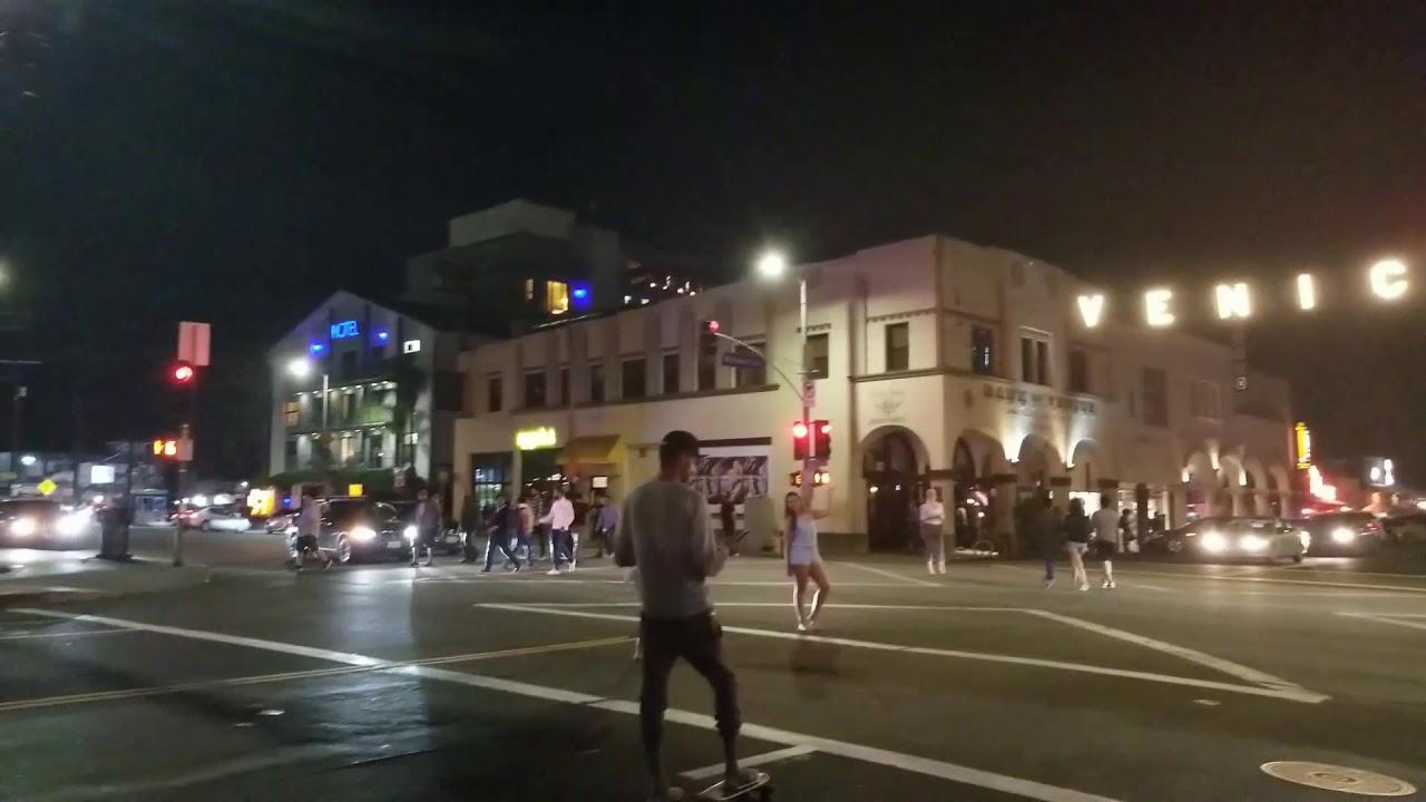 Venice Beach Sign At Night
