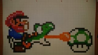 How to: draw pixel small Mario and a green Yoshi collect 1-Up Mushroom