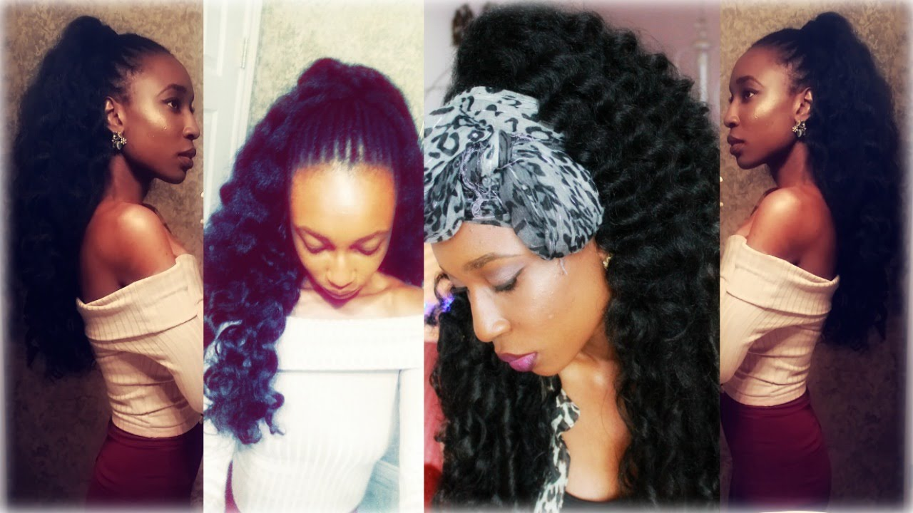 Half Up - Half Down On Natural Hair with crochet Xpressions and ...