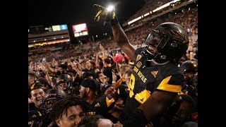Storming the field after arizona state upsets #5 washington