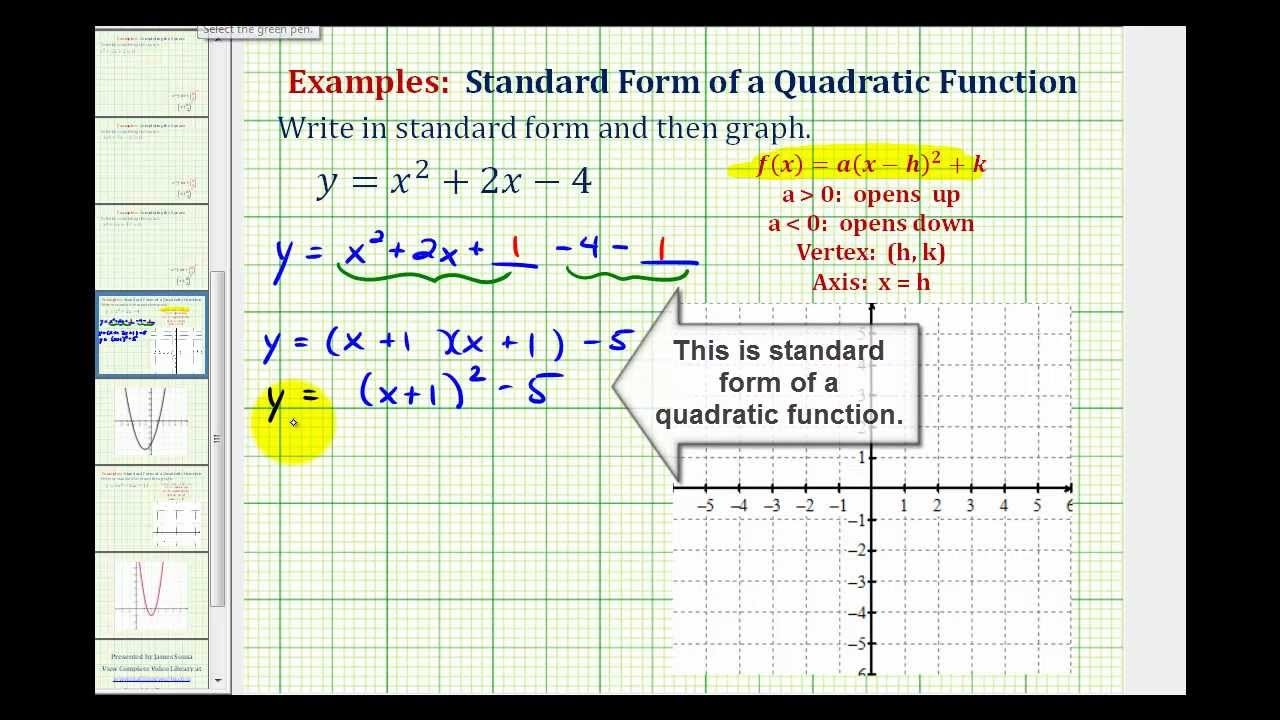 Ex1 Write A Quadratic Function In Standard Form To Graph Youtube