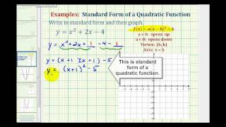 Ex1:  Write a Quadratic Function in Standard Form to Graph