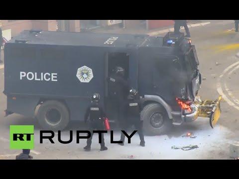 Serbia: Molotov cocktails scorch police vehicles as anti-govt. protests engulf Pristina
