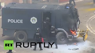 Serbia: Molotov cocktails scorch police vehicles as anti-govt. protests engulf Pristina