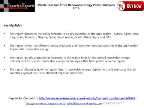 Renewable Energy Policy Handbook For Middle East and Africa