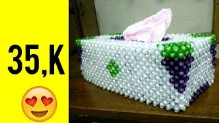 (part:1) how to make a beaded new tissue box