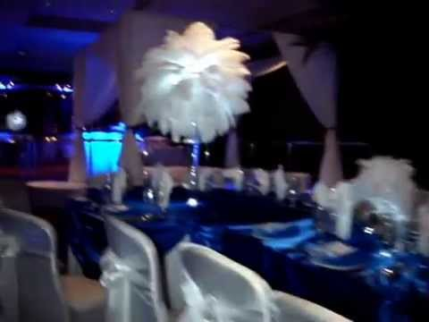 White Ostrich Feathers With Mini Feather Royal Blue Linens At The Crest Hollow Country Club