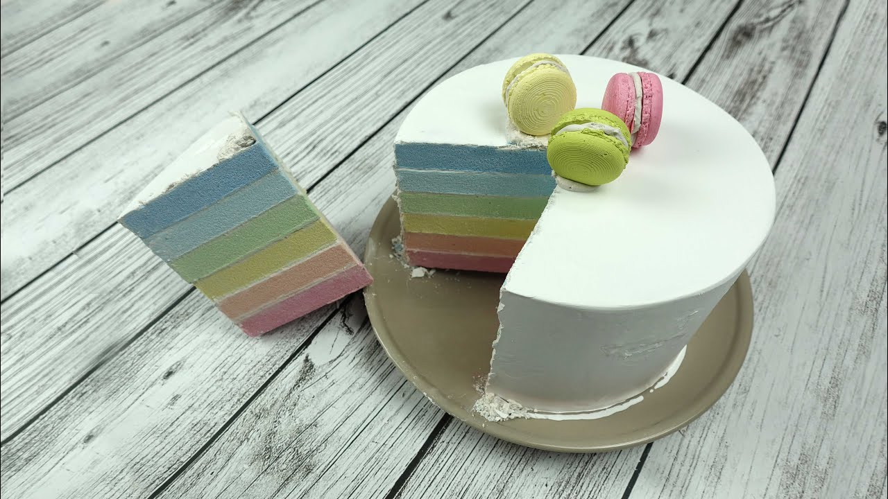 시멘트로 무지개 케익 만들기/Cement Cake/How to make cake/Rainbow cake