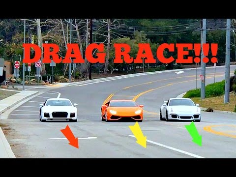 LAMBORGHINI HURACAN V.S. PORSCHE GT3 V.S. AUDI R8!!! (DRAG RACE)
