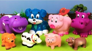 Lot of Toys Farm Animals for Kids  - Baby Find Mom Video - Dog Pig Cow Hippo - Learn Animals Names