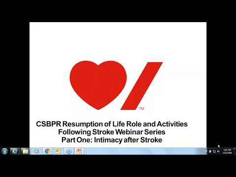 CSBPR Resumption of Life Role and Activities Following Stroke - Intimacy after Stroke