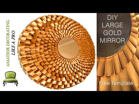 "DIY High End 41"" Large Starburst Gold Mirror With My FREE Template"