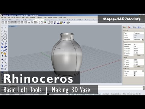 Rhinoceros Basic Tutorial | Loft Tools | 3D Vase