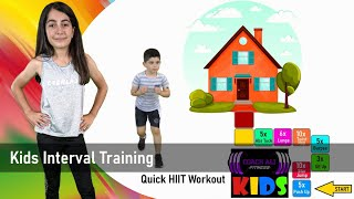 KIDS INTERVAL TRAINING WORKOUT: Kids HIIT Fitness Activity Game At Home. Coach Ali
