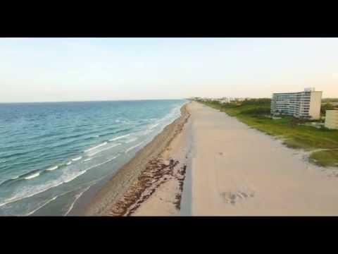 DJI Phantom 3 Drone flying over Delray Beach, Florida USA by sunset