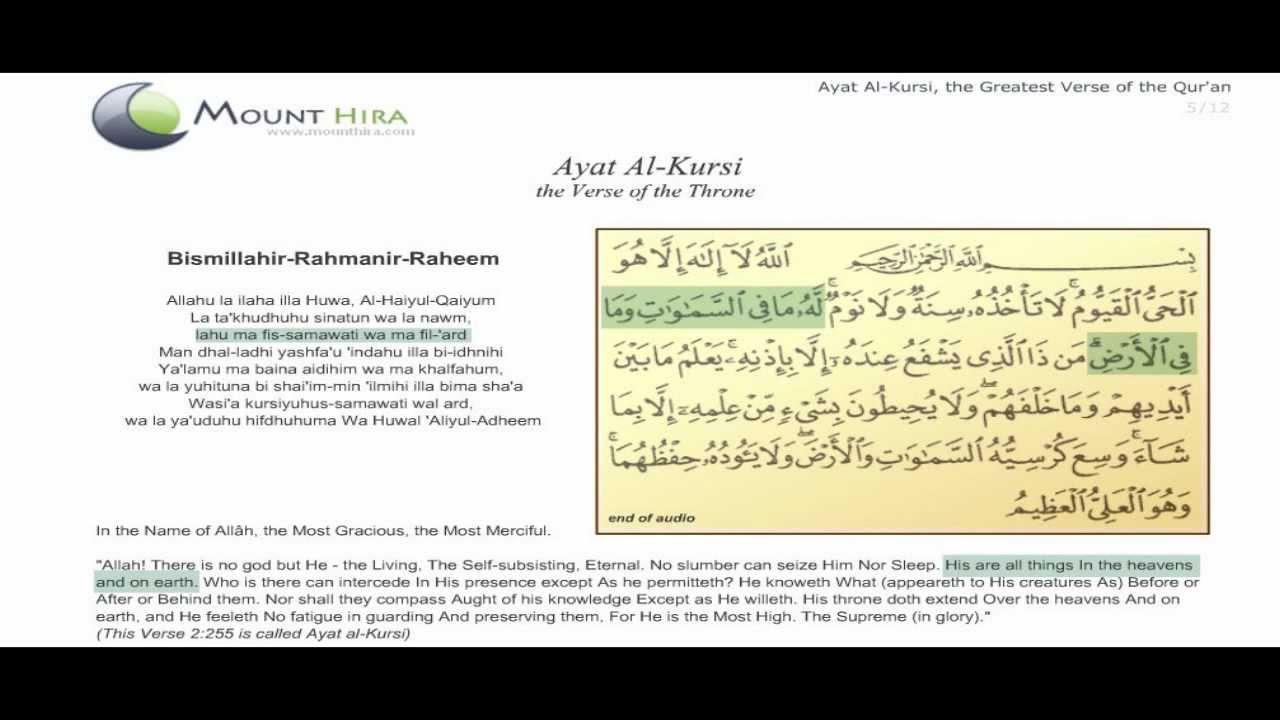 Ayatul Kursi English Translation, Pronunciation And