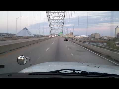 Over the Mississippi  River from West Memphis Arkansas, to MemphisTennessee.