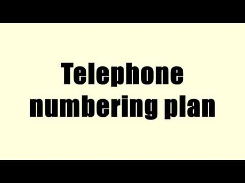 Telephone numbering plan