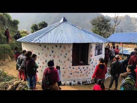 Volunteers building a community learning center in Nepal
