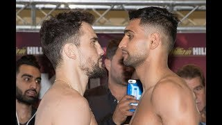 KHAN RETURNS! - AMIR KHAN v PHIL LO GRECO - OFFICIAL WEIGH IN & HEAD TO HEAD / KHAN v LO GRECO