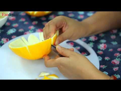 Hướng dẫn tỉa rau củ quả đẹp: Làm khay đựng hoa quả từ vỏ dưa
