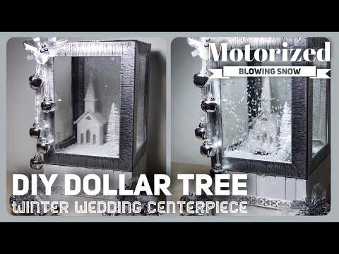 DIY Winter Wedding Motorized Snow Globe Centerpiece - Christmas Falling Snow Box - Dollar Tree Decor