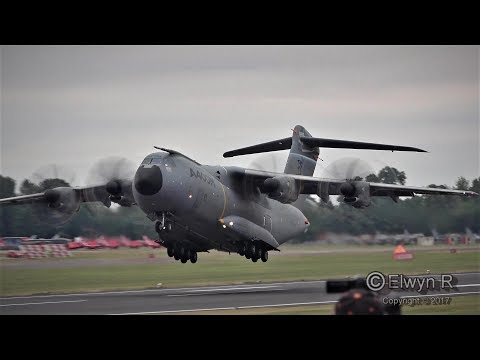 RIAT 2017 Airshow Airbus A400M Grizzly Atlas Transport Aircraft Flying Display
