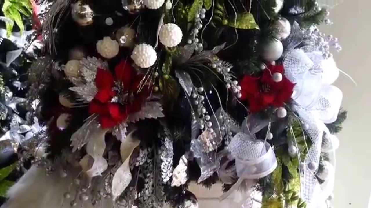 Decoracion arboles de navidad 2017 plateados rojo parte 9 - Adornos para arbol navidad ...