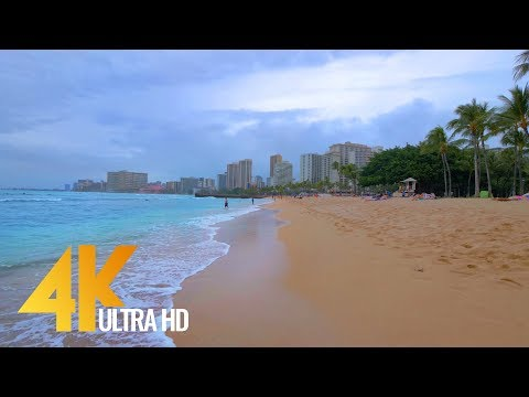 4K Virtual Tour - Waikiki Beach, Oahu, Hawaii - 2 Hours Relaxations Video