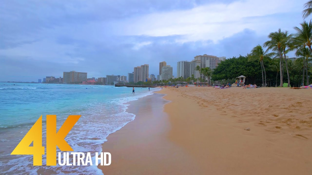4K Virtual Tour - Waikiki Beach, Oahu, Hawaii - 2 Hours Relaxations Video