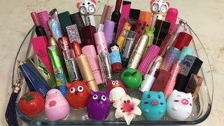 Mixing Lipstick into Clear Slime - Recycling my old Lipsticks | Tep Slime