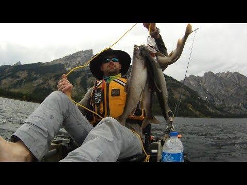 Wyoming Lake Trout Kayak Fishing - Ultralight 100 Ft. Jigging