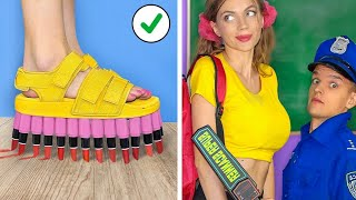 Funny Ways To SNEAK FOOD INTO MAKEUP! Sneak Snacks \u0026 Candy Anywhere By 4 Girls