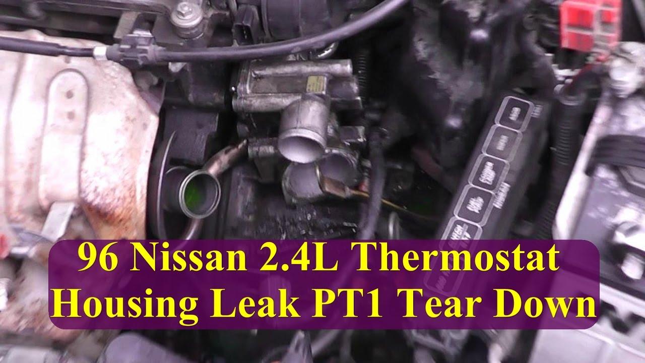 1996 Nissan Altima 24L Thermostat Housing Leak Pt1 Tear Down Inspection  YouTube