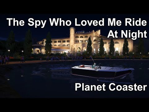 The Spy Who Loved Me Ride - James Bond - At Night - Planet Coaster