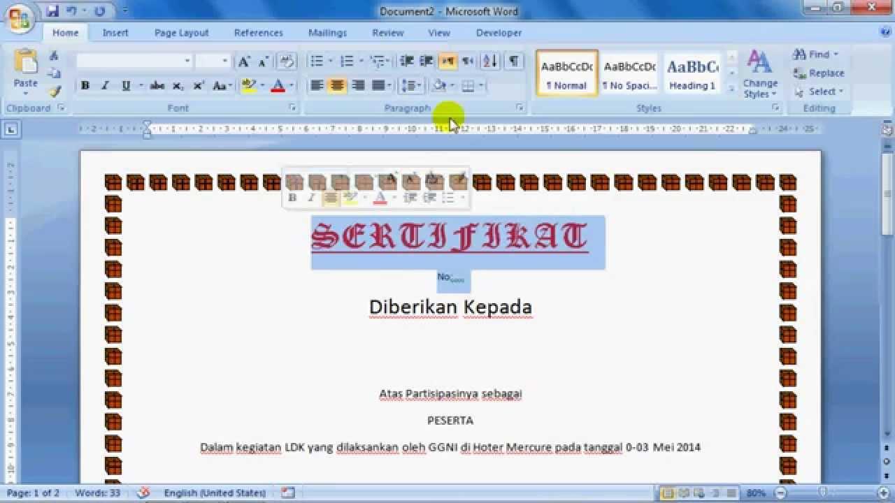 Tutorial Membuat Sertifikat Dengan Microsfot Office Word Youtube