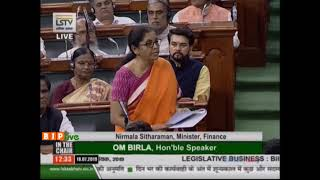 FM Smt. Nirmala Sitharaman moves The Finance (No.2) Bill,2019 in Lok Sabha