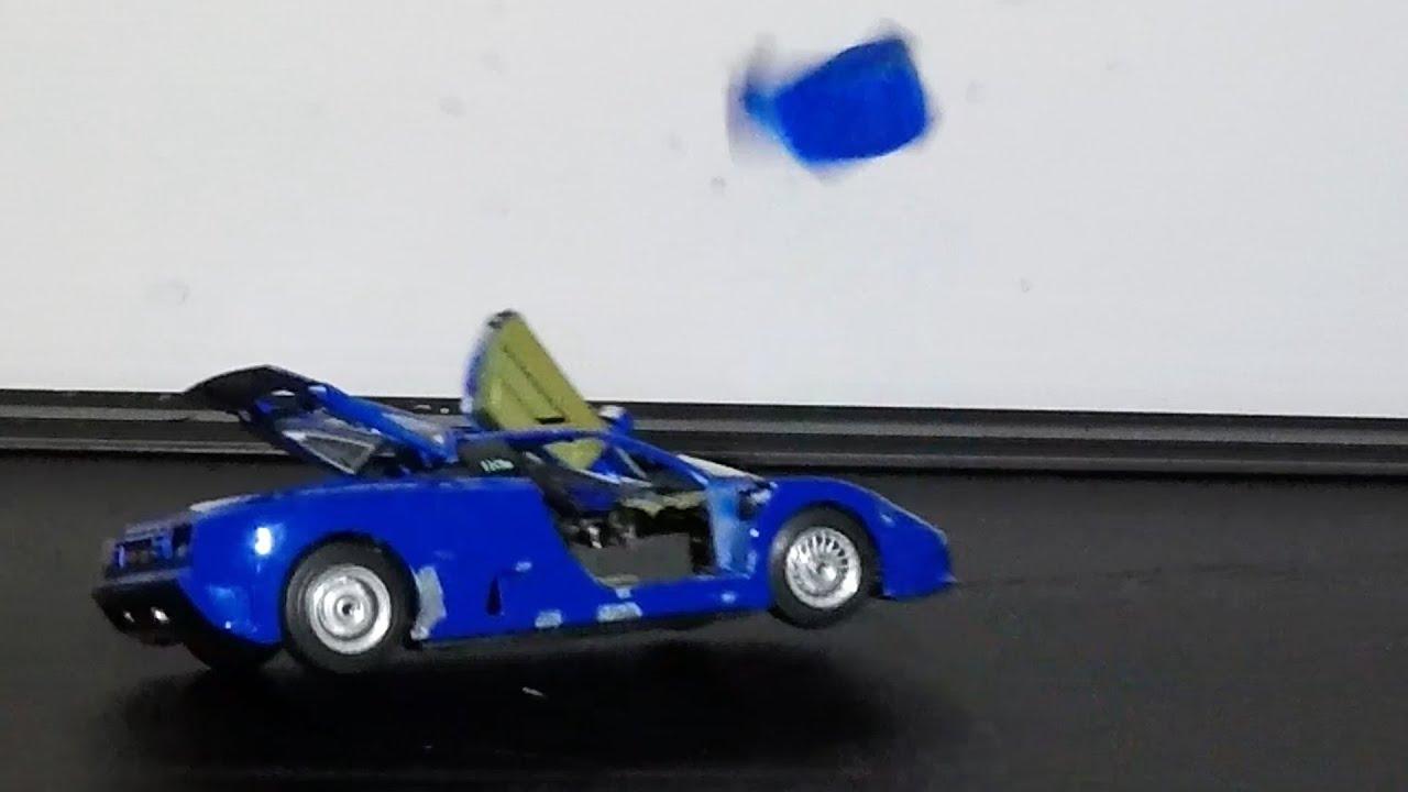 Treadmill Car vs Slingshot || Bugatti EB110 Model Destruction